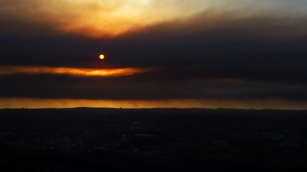 Sunset during wildfire.